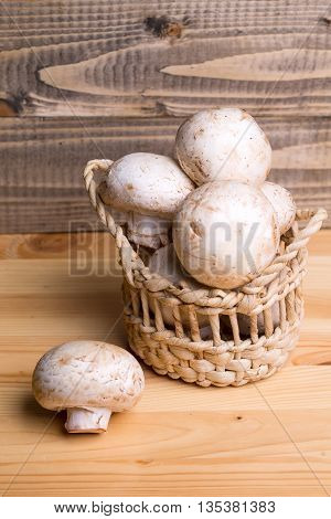 Fresh White Champignon Mushrooms