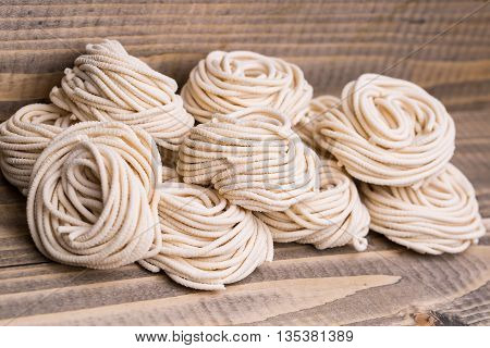 Homemade Tagliatelle In Heap