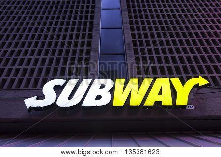 DALLAS USA - APR 9: Subway fast food restaurant logo illuminated at night. April 9 2016 in Dallas Texas United States