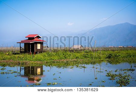A cottage by Inle lake in northern Myanmar