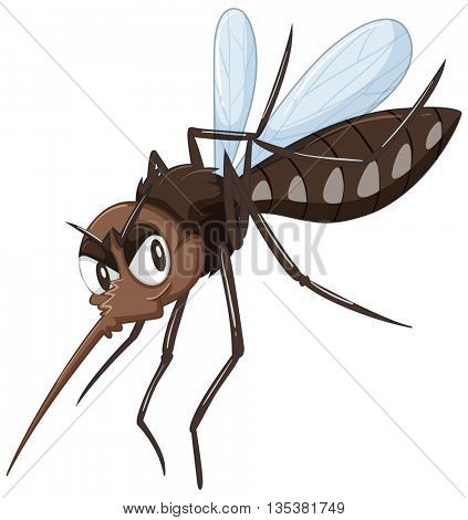 Mosquito in brown color illustration