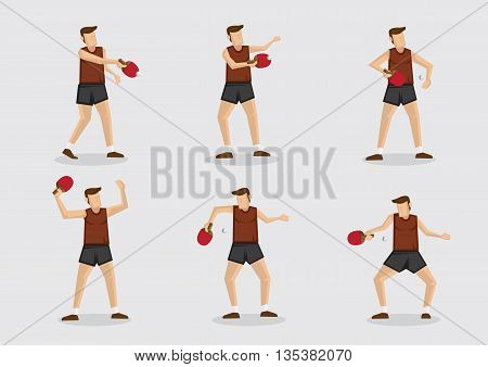 Set of six vector cartoon character of a table tennis sportsman in action with ping pong ball and bat isolated on plain background.