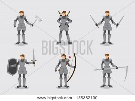 Set of six vector illustrations of woman in medieval knight armor suit with variety of battle weapons isolated on plain background.