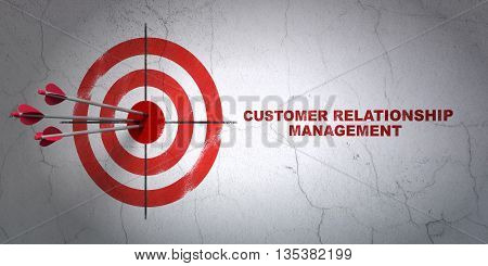 Success advertising concept: arrows hitting the center of target, Red Customer Relationship Management on wall background, 3D rendering