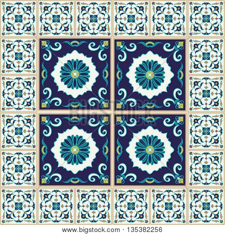 Vector seamless texture. Beautiful colored pattern for design and fashion with decorative elements and borders. Portuguese tiles Azulejo Talavera Moroccan ornaments