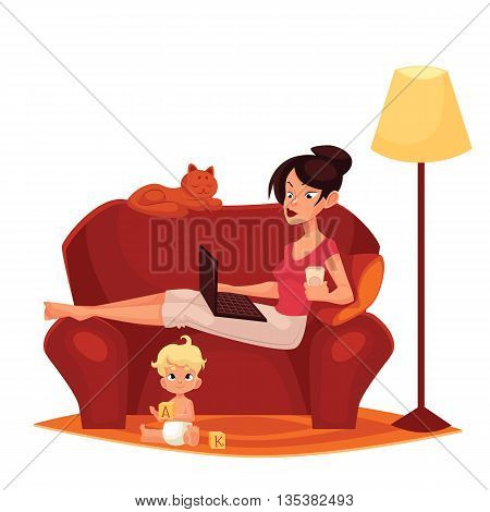 Young mother is working at home, cartoon comic illustration isolated on white background, woman, mother sitting on the couch with a computer ready, Internet, child homes, mom freelance women