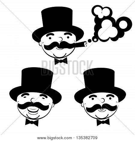 black and white set of  men in top hats