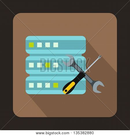 Database with screwdriver and spanner icon in flat style on a brown background