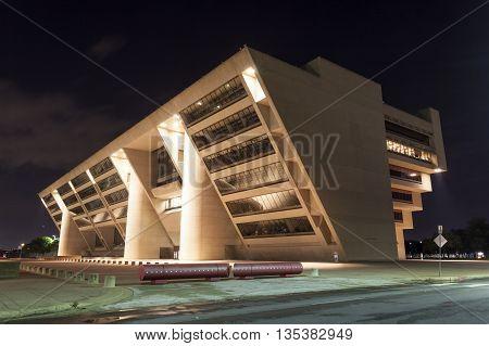 DALLAS USA - APR 9: Dallas City Hall illuminated at night. The building was designed by the architect I.M. Pei in 1977. April 9 2016 in Dallas Texas United States
