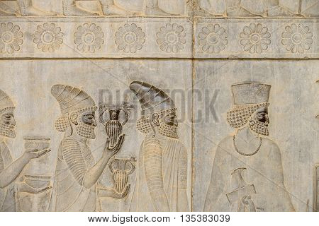 Detail of a relief of the eastern stairs in Persepolis in Iran. UNESCO declared the ruins of Persepolis a World Heritage Site in 1979.