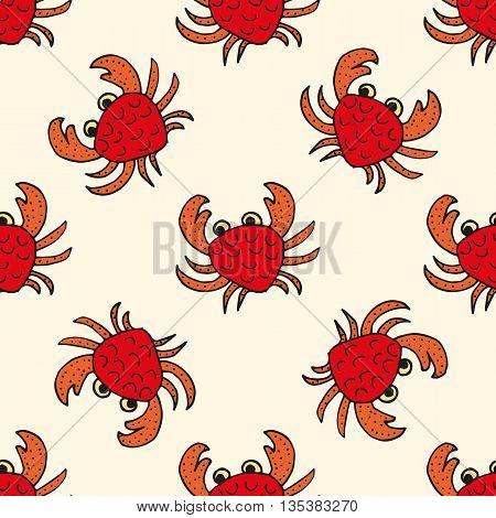 Happy Crabs, Seamless Nautical Pattern With Cute Crabs And Light Background