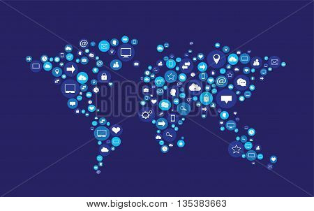 world map vector flat with social media icons