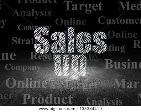 Marketing concept: Glowing text Sales Up in grunge dark room with Dirty Floor, black background with  Tag Cloud
