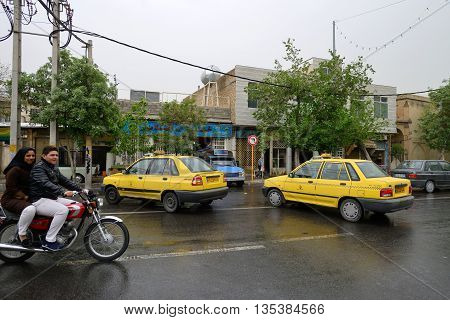 SHIRAZ - APRIL 15: traffic in Shiraz Iran on April 15 2015. Shiraz is the sixth most populous city of Iran and the capital of Fars Province Iran.