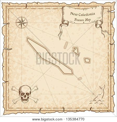New Caledonia Old Pirate Map. Sepia Engraved Template Of Treasure Map. Stylized Pirate Map On Vintag