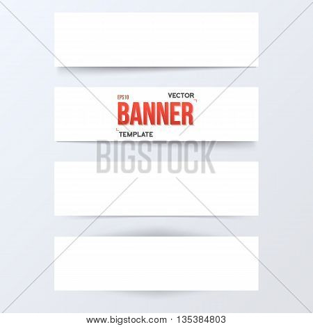 Illustration of Vector Paper Banner Set. White Paper Banner Set Isolated on Transparent Overlay Background. Vector Banner Set with Realistic Shadow