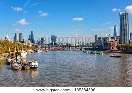 London United Kingdom - October 20 2015: View to river Thames and City of London from Waterloo bridge