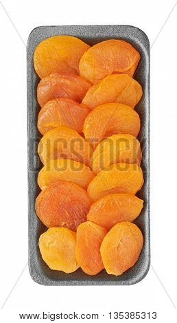 Dried apricots in package, isolated on the white background