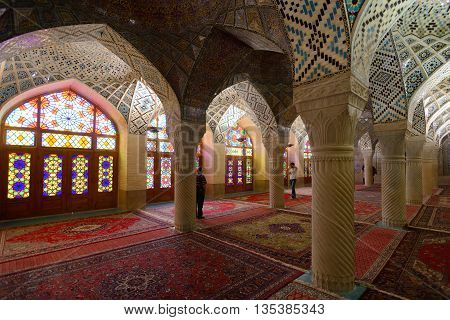 SHIRAZ - APRIL 15: interior of Nasir al-Mulk Mosque (Pink Mosque) in Shiraz Iran on April 15 2015. This mosque was built between 1876 and 1888 during the Qajar Dynasty in Shiraz Iran.