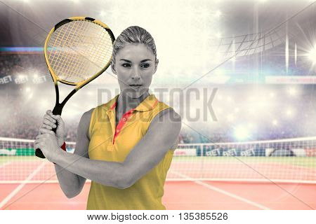 Composite image of athlete playing tennis with a racket on a tennis court