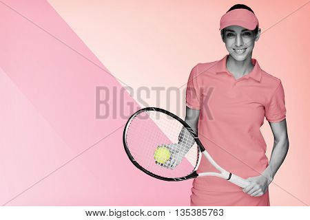 Composite image of female athlete posing with her tennis racket and ball on multicoloured background