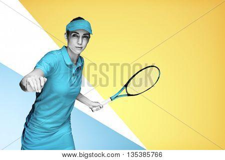 Female athlete playing tennis on multicoloured background