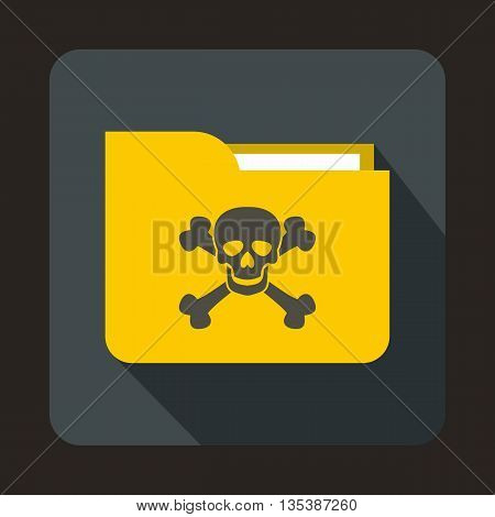 Yellow file folder with a skull icon in flat style on a gray background