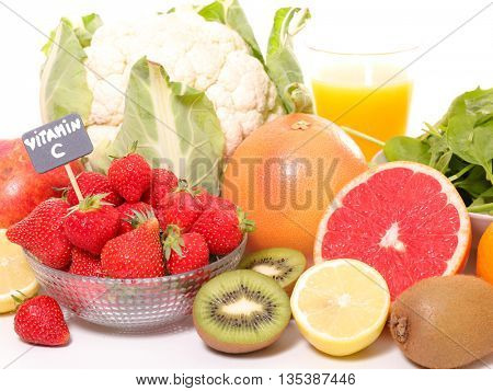fruit and vegetable,vitamin c concept