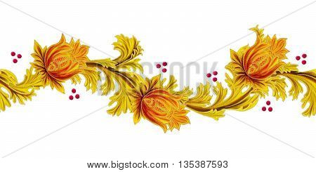 Horizontal floral border. Pattern seamless. Old style stylized flowers and leaves swirls gold braiding. Isolated.