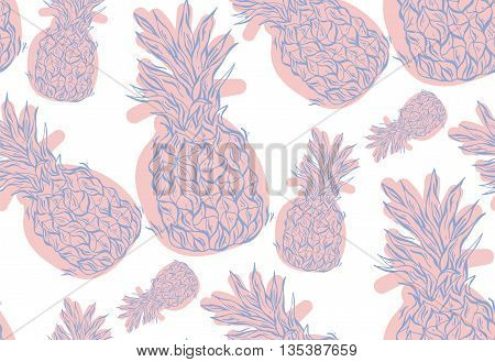 Hand drawn vector seamless pattern with pineapples in trend roze quartz and serenity colorssummer card .Vector tropical bright summer illustration of fruit pineapple.