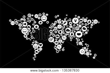world map flat white with social media icons