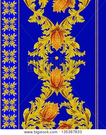 Pattern seamless. Old style stylized flowers and leaves swirls gold braiding.Vertical floral border.