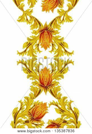 Pattern seamless. Old style stylized flowers and leaves swirls gold braiding.Vertical floral border. Isolated.