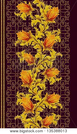 Pattern seamless. Old style stylized flowers and leaves swirls gold braiding black canvas.Vertical floral border.