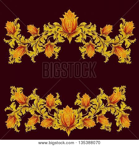 Old style stylized flowers and leaves swirls gold braiding