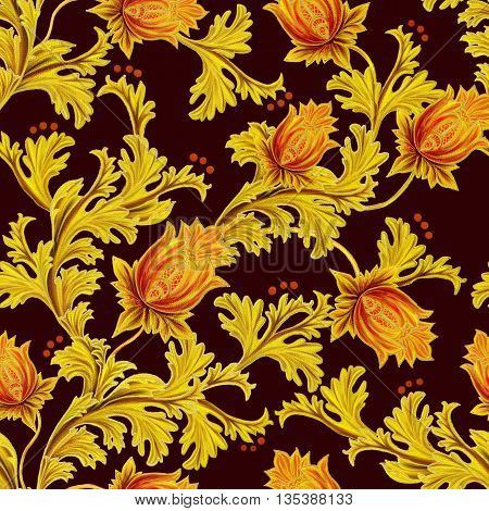 Pattern seamless. Old style stylized flowers and leaves swirls gold braiding black canvas.