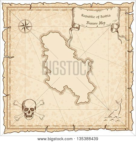 Serbia Old Pirate Map. Sepia Engraved Template Of Treasure Map. Stylized Pirate Map On Vintage Paper