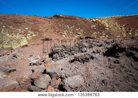 Etna volcano craters in Sicily on the blue sky, Italy