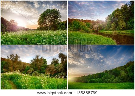 Set of spring landscape nature sunset. HDR