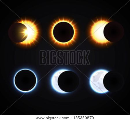 Different phases of sun and moon eclipse cartoon icons set on dark background isolated vector illustration