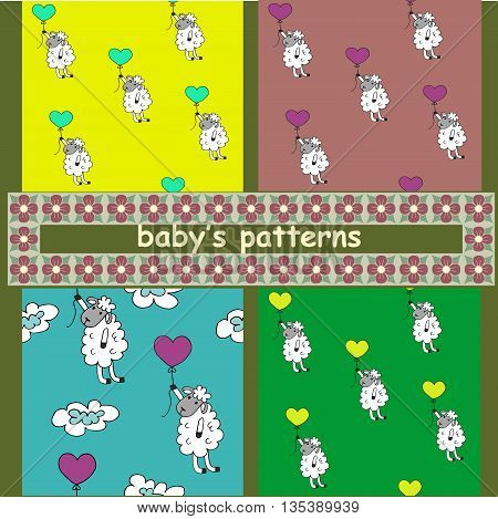 Children's pattern. A set of 4 images. Sheep with balloons.