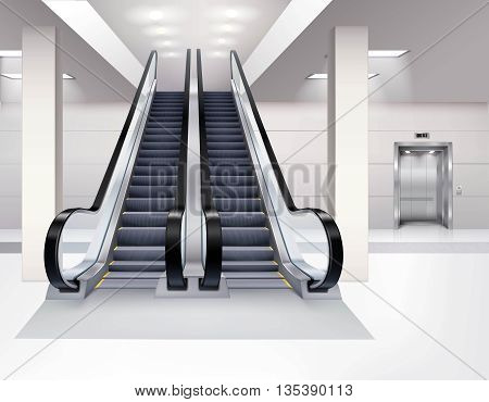 Up and down escalator inside building with lift interior realistic concept vector illustration