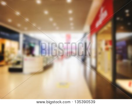 Abstract blurred shopping mall hall as background