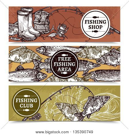 Hand drawn horizontal banners of fishing shop with equipment free fishing area with fishes and club vector illustration
