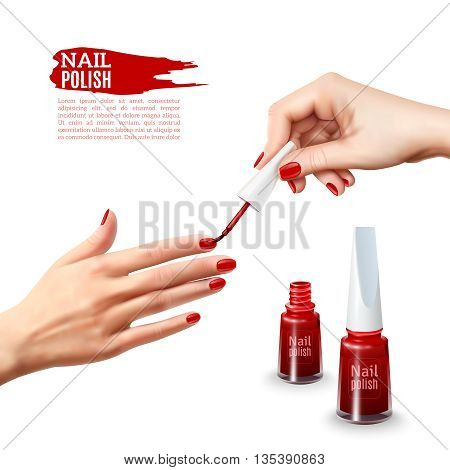 Perfect manicure tips realistic poster showing beautiful young lady hands with red polished nails abstract vector illustration