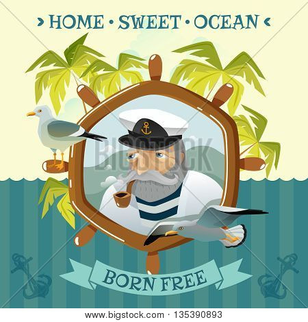 Nautical poster with old sailor smoking pipe helm sea and palm trees on uninhabited island flat vector illustration