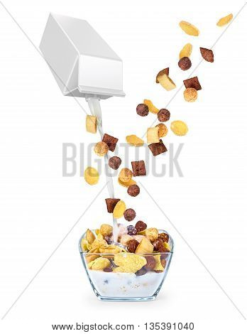 Pouring milk into corn flakes isolated on white background