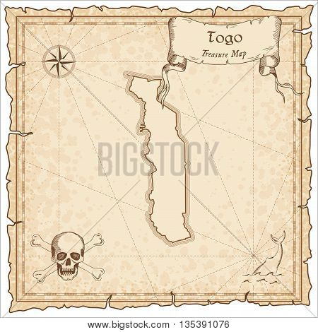 Togo Old Pirate Map. Sepia Engraved Template Of Treasure Map. Stylized Pirate Map On Vintage Paper.