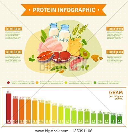 Informative poster on protein rich healthy nutrition with text diagram and infographic elements flat abstract vector illustration