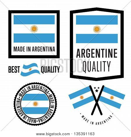 Made in Argentina label set. Vector Argentine flag. Symbol of quality. Manufacturing by Argentina. Tags and sticker collection. Vintage and modern stamp.